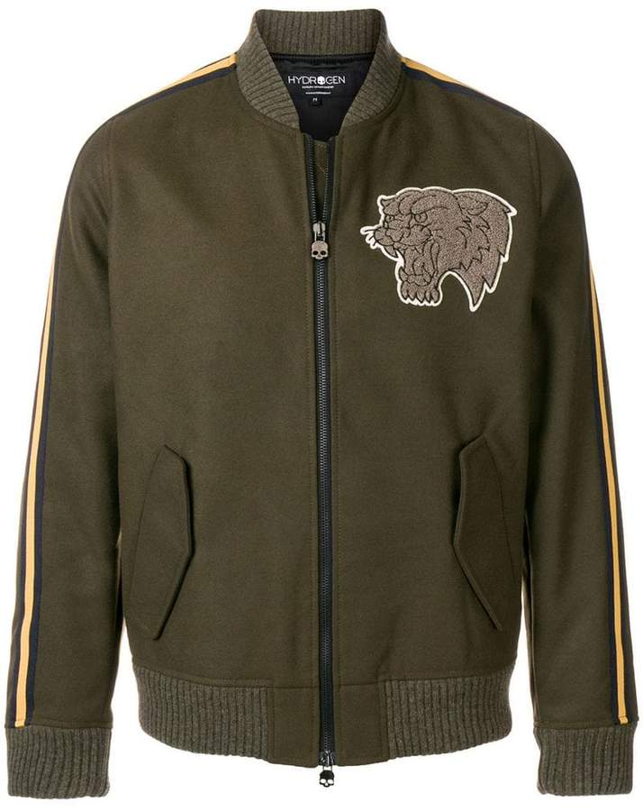 Hydrogen Lion patch bomber jacket