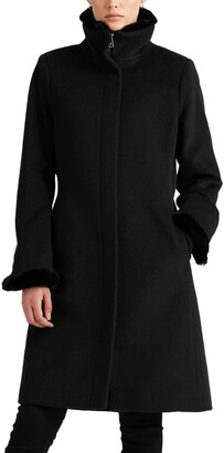 Lauren Ralph Lauren Faux Fur Trim Wool Blend Coat
