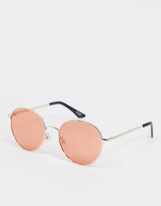 ASOS DESIGN oversized round metal sunglasses with peach lens