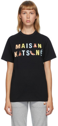 MAISON KITSUNÉ Black Rainbow Yoga Foxes T-Shirt