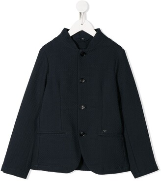 Emporio Armani Kids Knitted Single Breasted Jacket