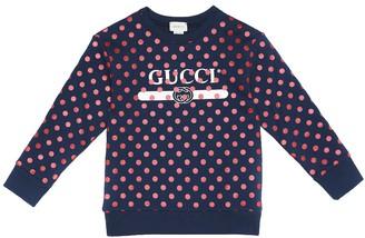 Gucci Kids Polka-dot logo cotton sweatshirt
