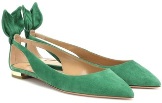 Aquazzura Exclusive to Mytheresa a Bow Tie suede ballet flats