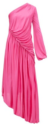 Halpern Asymmetric Gathered Dress - Pink