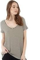 Jacqueline De Yong Womens Spirit Stripe V-Neck T-Shirt Dark Olive