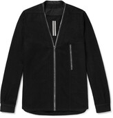 Thumbnail for your product : Rick Owens Larry Collarless Cotton And Wool-Blend Shirt