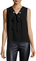 BCBGMAXAZRIA Marcia Sleeveless Lace-Up Crepe Top