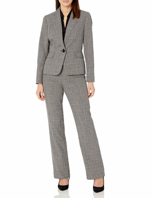 Le Suit LeSuit Women's 1 Button Notch Collar Plaid Pant Suit