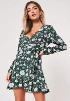 Missguided Green Floral Print Wrap Ruffle Tea Dress