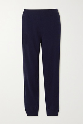 Stella McCartney Crochet-trimmed Cashmere And Wool-blend Track Pants - Blue