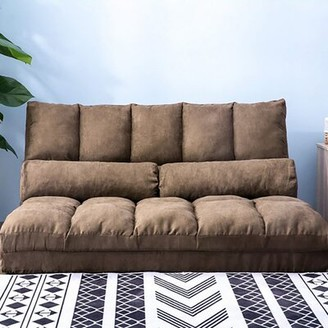 Ebern Designs Double Chaise Lounge Sofa Chair Floor Couch With Two Pillows