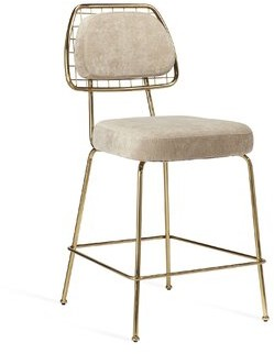 "Interlude Milan 26"" Counter Stool Frame Color: Gold, Seat Color: Beige Latte"