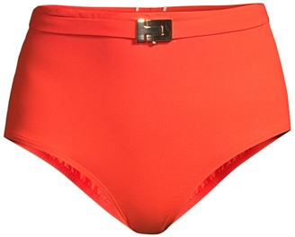 Tory Burch Belted High-Waisted Bikini Bottoms