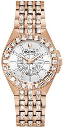 Bulova Women's Rosetone Stainless Steel Crystal Watch