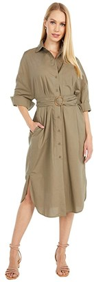 BB Dakota Boyfriends Back Cotton Poplin Belted Shirtdress (Light Sage) Women's Dress