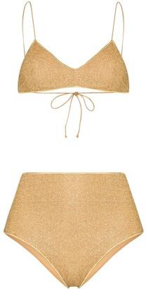 Oseree Lumiere metallic high-waist bikini set