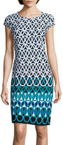 Liz Claiborne Cap-Sleeve Print Shift Dress