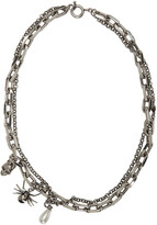 Alexander McQueen Silver Layered Skull & Spider Necklace