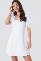 NA-KD Square Neckline Puff Sleeve Mini Dress Beige