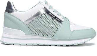 MICHAEL Michael Kors Billie Laser-cut Metallic-trimmed Color-block Leather Sneakers