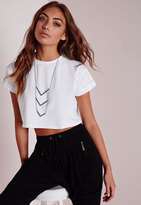 Missguided Petite Roll Sleeve Cotton Crop Top White