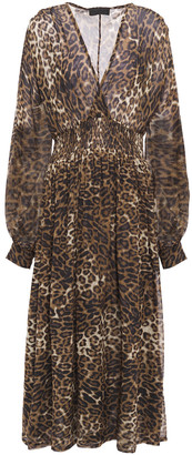 Nili Lotan Brienne Shirred Leopard-print Silk-chiffon Midi Dress
