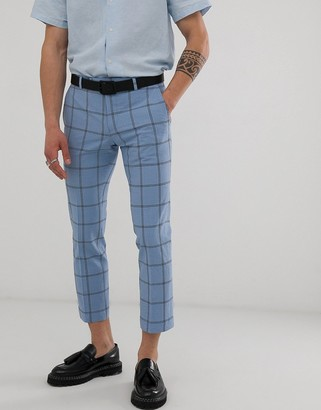 Twisted Tailor tapered cropped suit pants in check seersucker-Blue