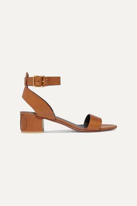 Valentino Garavani Go Logo 45 Leather Sandals - Tan