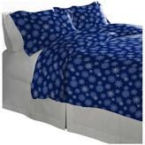 Pointehaven 175 GSM Cotton Flannel Duvet Set, Snow Flakes Navy, King/C