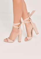 Missguided Nude Curved Vamp Block Heeled Sandals
