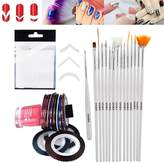 Best Deal Professional Manicure Nail Art Salon Quality Tools Accessories Set Kit Including 10pcs Cards Each With 51pcs Guides Stickers / Strips In 3 Different Shapes For French Nails And Lines Designs / Patterns Application, 10 Different Rolls of Striping Tapes / Stripes Decorations And 15 Brushes / Stripers / Liners / Dotters By VAGA