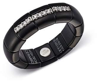 Roberto Demeglio 18K White Gold & Matte Black Ceramic Ring with Diamonds