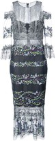 Marchesa Cold-Shoulder Embroidered Lace Dress