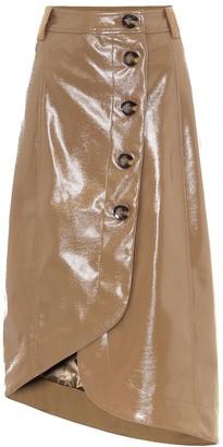 Ganni Faux leather midi skirt