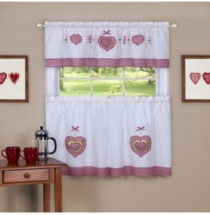 Achim Gingham Hearts Embellished Tier and Valance Window Curtain Set, 56x24