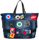 DSQUARED2 patch embroidered denim holdall - men - Cotton/Leather - One Size