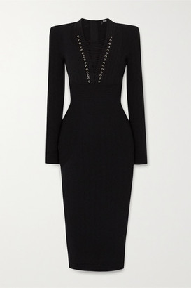 Balmain Lace-up Ribbed-knit Midi Dress - Black