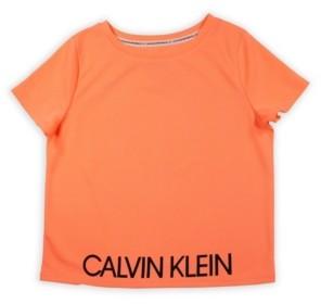 Calvin Klein Big Girls Logo Mesh Tee with Screenprint