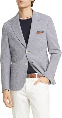 Eleventy Trim Fit Seersucker Sport Coat
