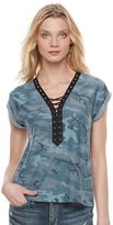 Rock & Republic Women's Lace-Up Camo Tee