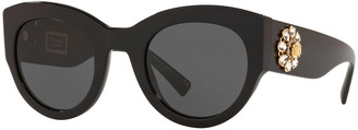Versace Chunky Cat-Eye Sunglasses w/ Crystal Embellished Temples