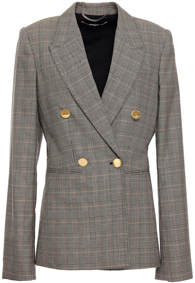 Stella McCartney Double-breasted Prince Of Wales Checked Wool Blazer