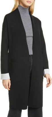 Theory Open Front Double Face Wool Blend Long Cardigan