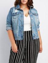 Charlotte Russe Plus Size Refuge Destroyed Denim Jacket