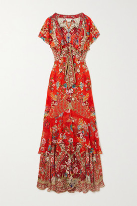 Camilla Crystal-embellished Tie-front Ruffled Floral-print Silk Crepe De Chine Maxi Dress - Red
