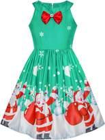 Sunny Fashion Girls Dress Chirstmas Santa Snow Xmas Party Turquoise