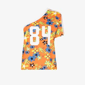 adidas X Lotta Volkova Ringer one shoulder floral print T-shirt