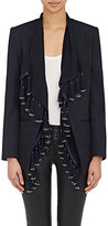 Foundrae FOUNDRAE WOMEN'S COLLARLESS BLAZER & TASSELED VEST-NAVY SIZE 2