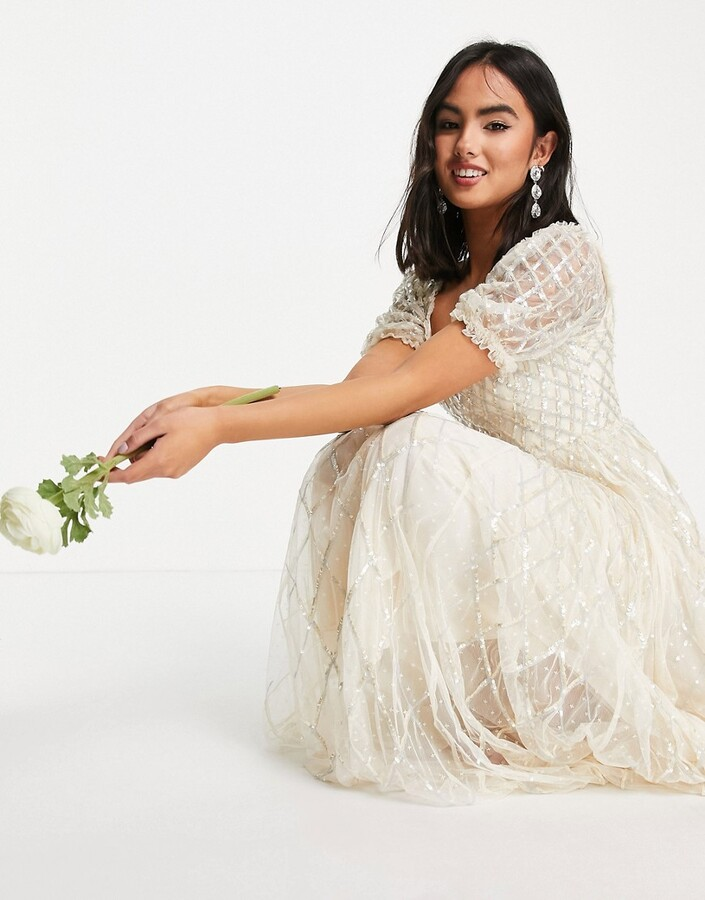 Thumbnail for your product : Needle & Thread Bridal midaxi dress in ivory with silver gingham embellishment
