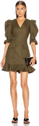 Alexander McQueen Mini Ruffle Dress in Khaki Green | FWRD